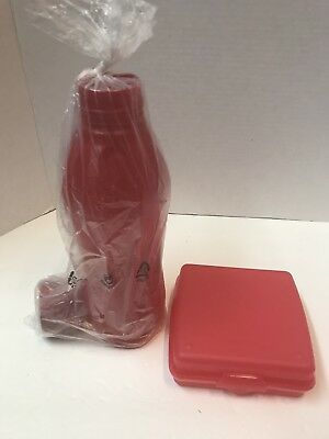 Tupperware RED Sandwich Keeper and Water bottle 1L