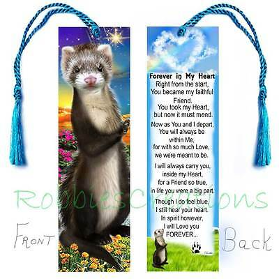 "Brown FERRET Bereavement CUSTOM 6"" BOOKMARK Poem Memorial PET Keepsake Book CARD"