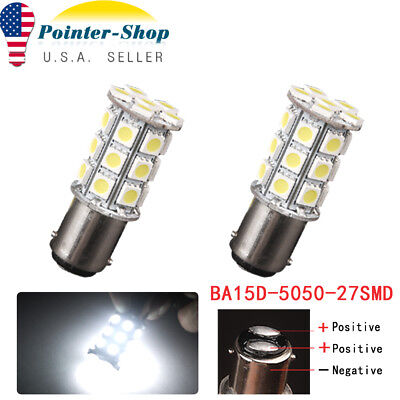 2x White BA15D 5050 27 SMD Cabin Marine Boat LED Interior Light Bulbs 1142 1178