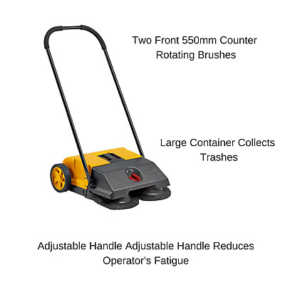 Manual Wet & Dry Floor Cleaner Industrial Sweeper Heavy Duty Driveway Warehouse