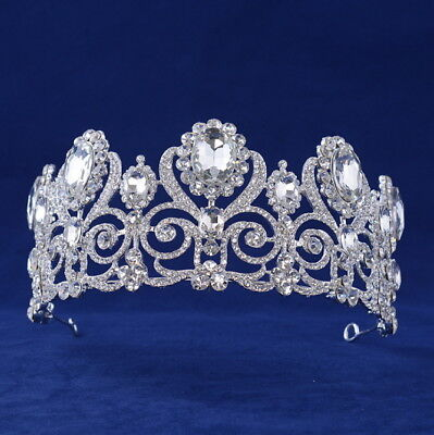 2 Colors Big Luxury Full Crystal Tiara Crown Wedding Bridal Party Pageant Prom