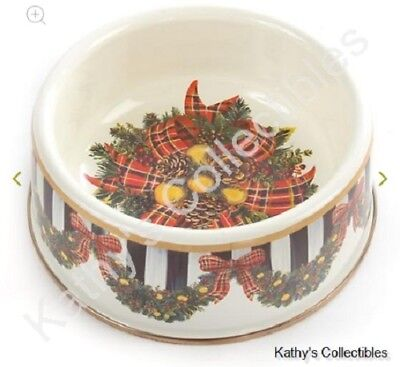 Authentic Mackenzie Childs    Evergreen Enamel Pet Dish - Medium   NEW