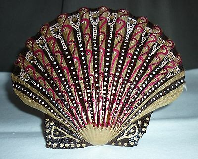 Natural Scallop Shell - Hand painted Nautilus shell
