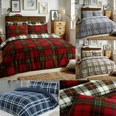 Tartan Check Flannel 100% Cotton Duvet Cover Quilt Cover Reversible Bedding Sets