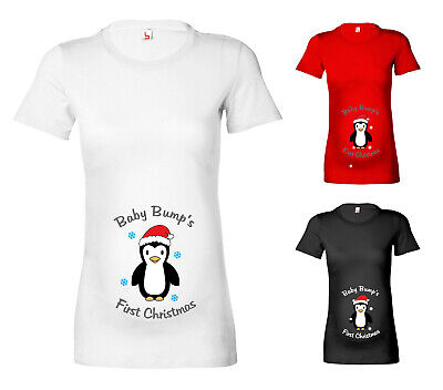 279604ec58a8f Womens Penguin Baby Bumps First Christmas Maternity T Shirt Pregnancy T- Shirt