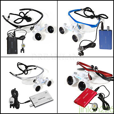Dental 3.5X 420mm Binocular Loupes Optical Glasses w/ LED Head Light Lamp 4 TYPE