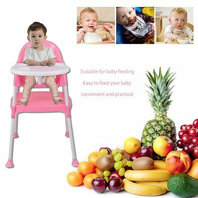 3IN1 Baby High Chair Convertible Table Seat Booster Toddler Feeding Highchair SW