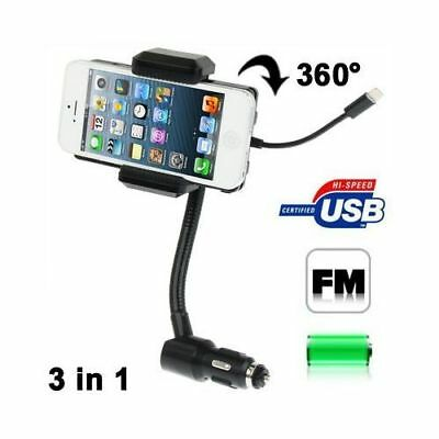 Transmetteur fm Apple iPhone 5 iPod Touch 360° chargeur kit mains libres holder