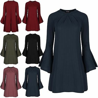 Ladies Ribbed Ruched High Neck Bell Flared Long Sleeve Womens Swing Mini Dress