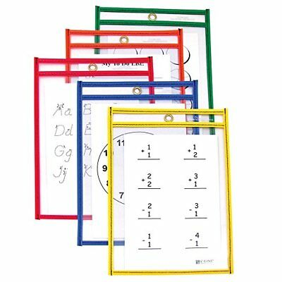 C-Line Reusable Dry Erase Pockets, 6 x 9 Inches, Assorted Primary Colors, 10