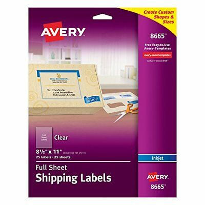 Avery Clear Full-Sheet Labels, Inkjet Printers, 8.5 x 11 Inches, Pack of 25