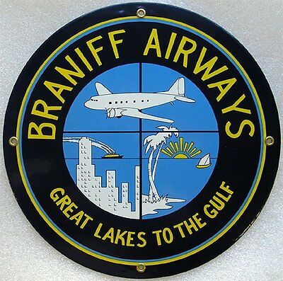 Braniff Airways Plane Airplane Vintage Aviation Porcelain Metal Sign