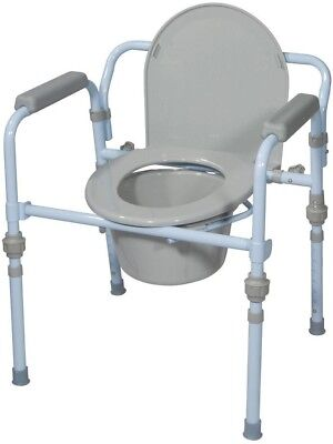 Folding 12Qt Bedside Commode Elevated Toilet Seat Safety Frame Adjustable Height