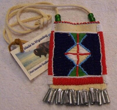 Hand Made Small Beaded Neck Pouch Rendezvous Black Powder Mountain Man 30