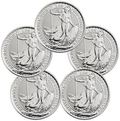 Lot of 5 2018 Great Britain 1 oz Silver Britannia Coins BU SKU49810