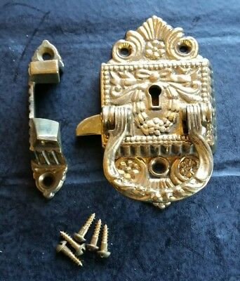 """Solid Brass Ice box lock Fancy New Old stock ESTATE 4"""""""