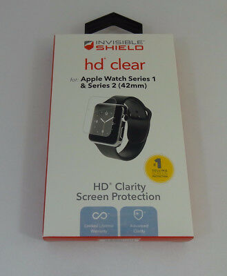 New Zagg Shield HD Clear Screen Protection for Apple Watch Series 1 & 2 42mm