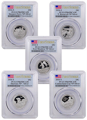 2016-S Proof Silver America Beautiful Set of 5 Coins PCGS PR69 DCAM FS SKU40366