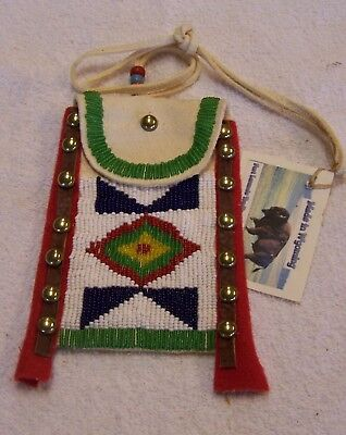 Hand Made Small Beaded Neck Pouch Rendezvous Black Powder Mountain Man 34