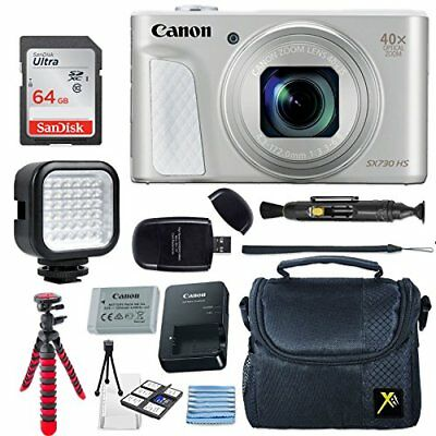 Canon PowerShot SX730 HS 20.3MP Digital Camera (Silver) + 64GB Memory Card