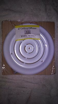 Ceiling Diffuser Metal 6 Inch In White Round All Steel SKU 639-8253 NEW