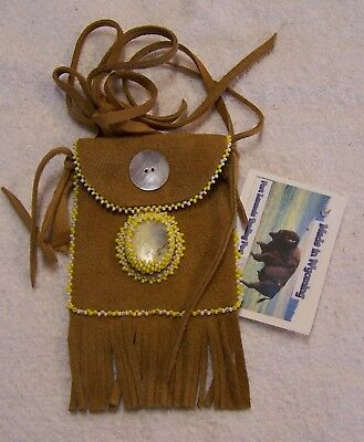 Hand Made Small Beaded Neck Pouch Rendezvous Black Powder Mountain Man 36