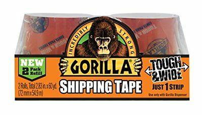 """Gorilla Packaging Tape Tough & Wide Refill, 2.83"""" x 30 yd. (Pack of 2)"""