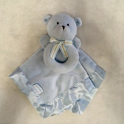 CARTER'S Blue Baby Security Lovey Blanket Teddy Bear with Ring Rattle Blankie