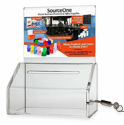 SourceOne Donation Box with Lock - 5-Inch Wide Acrylic Storage Container -