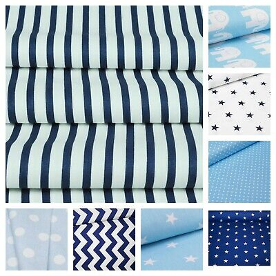 Navy and Blue 100% Cotton Fabric - Elephant, Stars, Chevron, Clouds