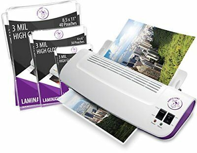 Purple Cows Hot and Cold Laminator, Includes 100 3 mil Hot Pockets, Assorted