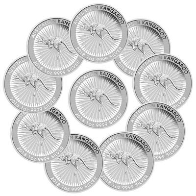 Lot of 10 - 2018-P Australia 1 oz Silver Kangaroo - $1 Coins GEM BU SKU49772