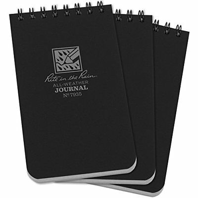 """Rite in the Rain All-Weather Top-Spiral Notebook, 3"""" x 5"""", Black Cover"""
