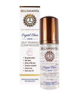 Brand New boxed Bellamianta Crystal Clear Rapid Fake Tan Self Tanning Mousse