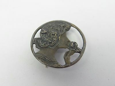 Vintage Bronze Colored Victorian Lady Smelling Flowers Decorative Pin Button