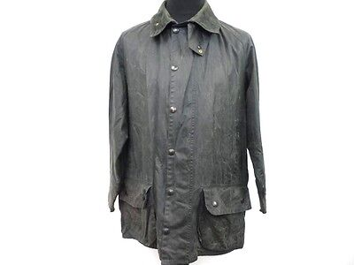"""Barbour Waxed Coat Mens Cotton Hunting Wax Jacket Size L 44"""" Navy Grade B W855"""