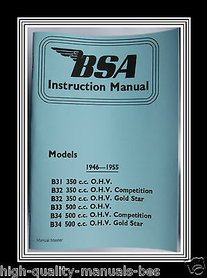 1946 To 1955 Bsa B31 B32 B33 & B34 O.h.v. Owners Instruction Manual