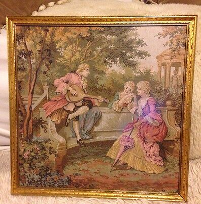Antique Vintage Victorian Courtship Hand Loomed Tapestry Needlepoint Gold Framed