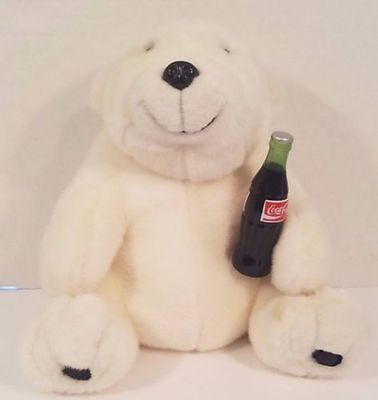 Coca Cola Brand White Polar Bear Cub Plush w/Coke Bottle 1993 Edition