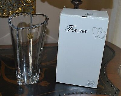 """FOREVER heart Cristal D'Arques 8.5"""" 24% Lead Crystal Vase MINT Condition"""