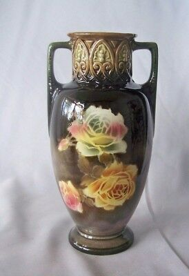 Small Vintage Czech Majolica Art Nouveau Style Two-Handled Vase w Roses