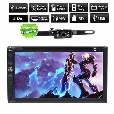 Double 2Din 7'' Car Dvd CD Player Stereo USB SD Bluetooth IPod TV MP3 +HD Camera