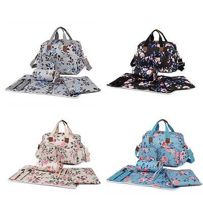 Flower Print Waterproof Maternity Mummy Changing Bag Set Baby Nappy Diaper