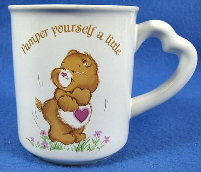 Vintage Care Bears Tenderheart Pamper Yourself A Little 8oz Coffee Mug Cup 1983