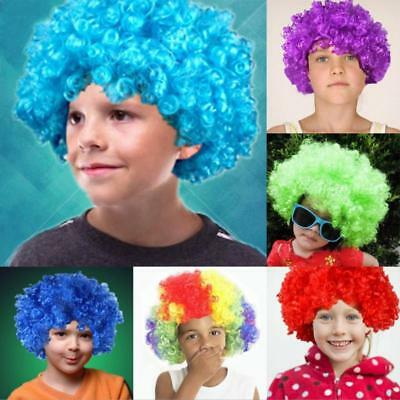 Kids Rainbow Purple Blue Afro Curly Clown Party Disco Costume Wigs Wig JJ