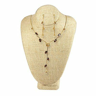 Jewelry Necklace Display Bust Wooden Lined Covered Organizer Stand Shine Beauty