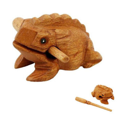 Wood Frog Rasp Percussion Musical Instrument Tone Block with Stick NEW @