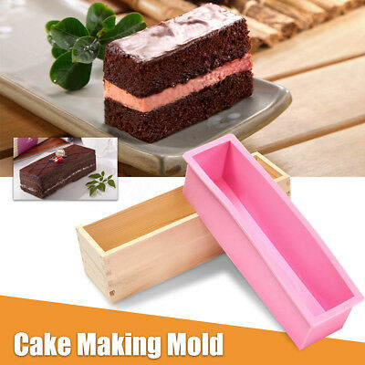 900G Loaf Soap Mould Silicone Wooden Mold DIY Soap Cake Making Tools Box AU