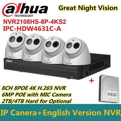 Dahua CCTV KIT 8CH NVR2108HS-8P-4KS2+IPC-HDW4631C-A 6MP IP POE IR Camera+2/4TBHD