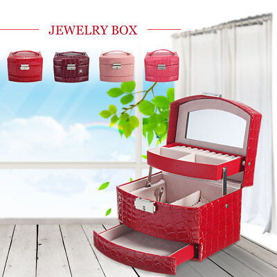 Leather Display Jewelry Box Earring Ring Case Necklace Storage Organizer New AU